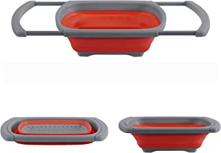 Collapsible Colander by Blissful Living – Space Saving Strong Silicone Strainer, Over the Sink Handles, Flat Folding, Expandable for Easy Storing- Great for Fruits/Vegetables, Pastas and More (Red)