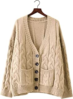 Doballa Thick Slouchy Open Front/Button Down Oversized Cable Twist Knit Chunky Cardigan Sweaters with Pockets