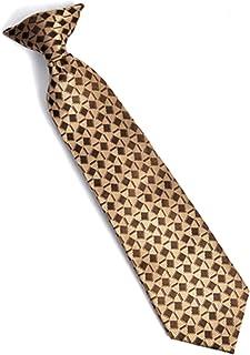 Boy's Youth Brown Vigor Stripe Clip On Tie