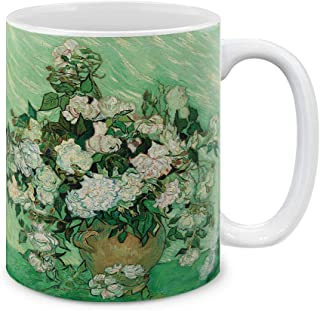 MUGBREW Classic Art Vase With Pink Roses By Vincent Van Gogh Ceramic Coffee Gift Mug Tea Cup, 11 OZ