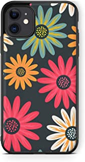 XUNQIAN Compatible for iPhone 12 Case, iPhone 12 Pro Case, Floral Daisy Flowers Pink Green Orange Grey Art Thin Soft Black...