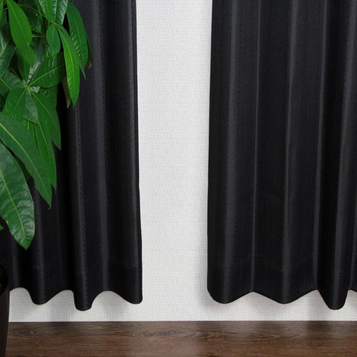 内なる便益現代の窓美人 ステップLight ドット ストライプ 柄カーテン ブラック 2枚組 幅100×丈178cm フック タッセル おしゃれな柄 子供部屋にも