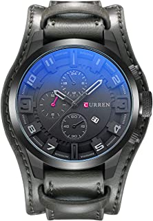 Quartz Watch for Men Chronograph Analog Wrist Watch Fashion Cool Big Dial Watch with Leather Band