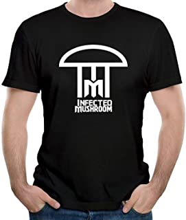 INF Men's T Shirts,Black,Infected Mushroom Logo,Large
