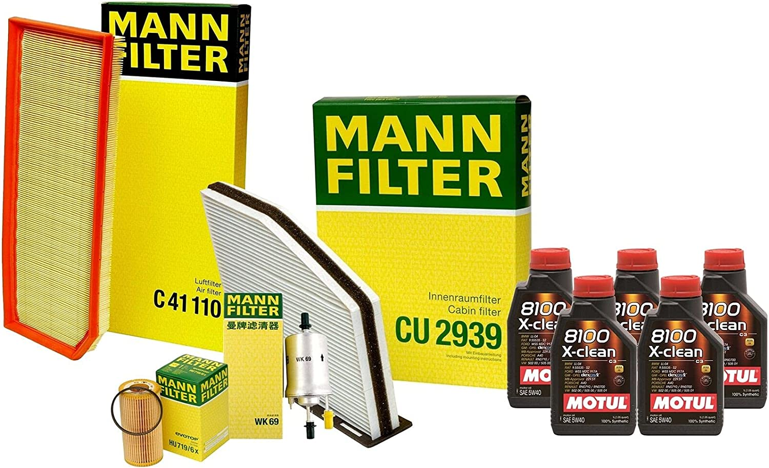 5L free shipping 8100 X-CLEAN 5W40 Oil Filter Popularity with Service TT kit 2 Compatible