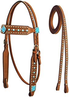 Tahoe Tack Turquoise Collection Show Western Browband Headstall with Matching Split Reins