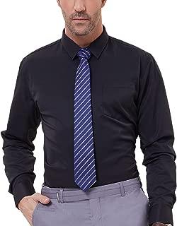 PAUL JONES Men's Solid Color Long Sleeve Spread Collar Dress Shirt with Pocket