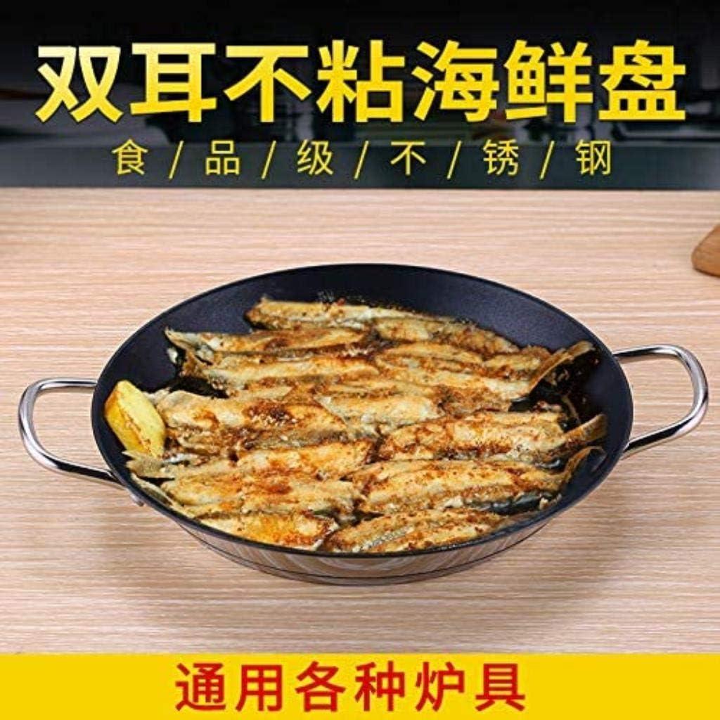 XUHRA Poêle en Acier Inoxydable de Fruits de mer Homard rôti tartes Steak de Riz Espagnol Pas coincé pan ragoût Omelette Risotto,28cm 24cm
