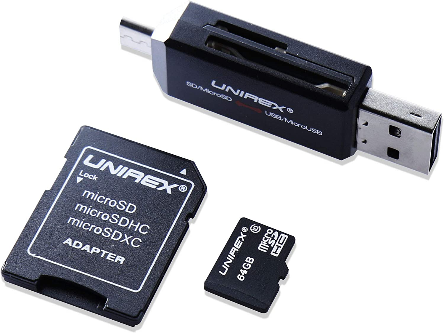 64GB All in One Adapter Kit - Micro SD Memory Card, SD Card Adapter and Double Sided USB and Micro USB Reader - Compatible with Tablet, Computer, Laptop, Camera, Switch and Cell Phone