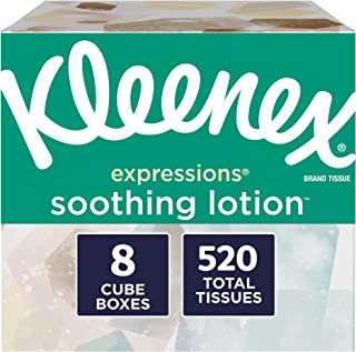Kleenex Expressions Soothing Lotion Facial Tissues, 8 Cube Boxes, 65 Tissuesper Box (520 Tissues Total), Coconut Oil, Aloe & Vitamin E