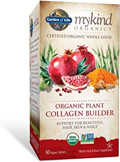 Garden of Life mykind Organic Plant Collagen Builder - Vegan Collagen Builder for Hair, Skin and Nail Health, 60 Tablets