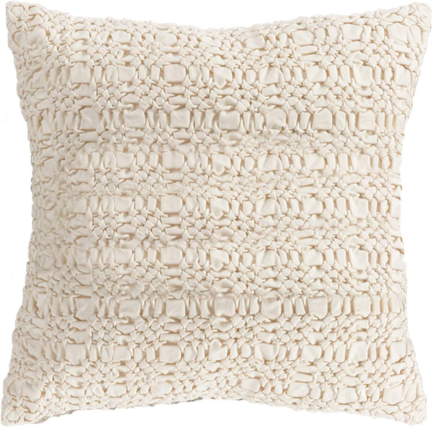 SARO LIFESTYLE Smocked Design Cotton price Throw Pillow Filled Down Department store 00