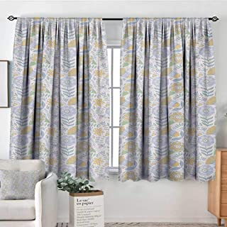 Garden Art Room Darkening Curtains Modern and Artistic Scroll Pattern with Doodle Natural Elements Butterflies Decorative Curtains for Living Room 55