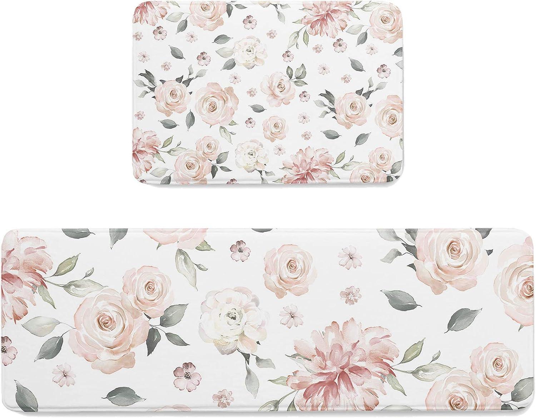 Anti-Fatigue Kitchen Bath Door Mats Set Le Plant 2 of Retro Pink Low Max 52% OFF price