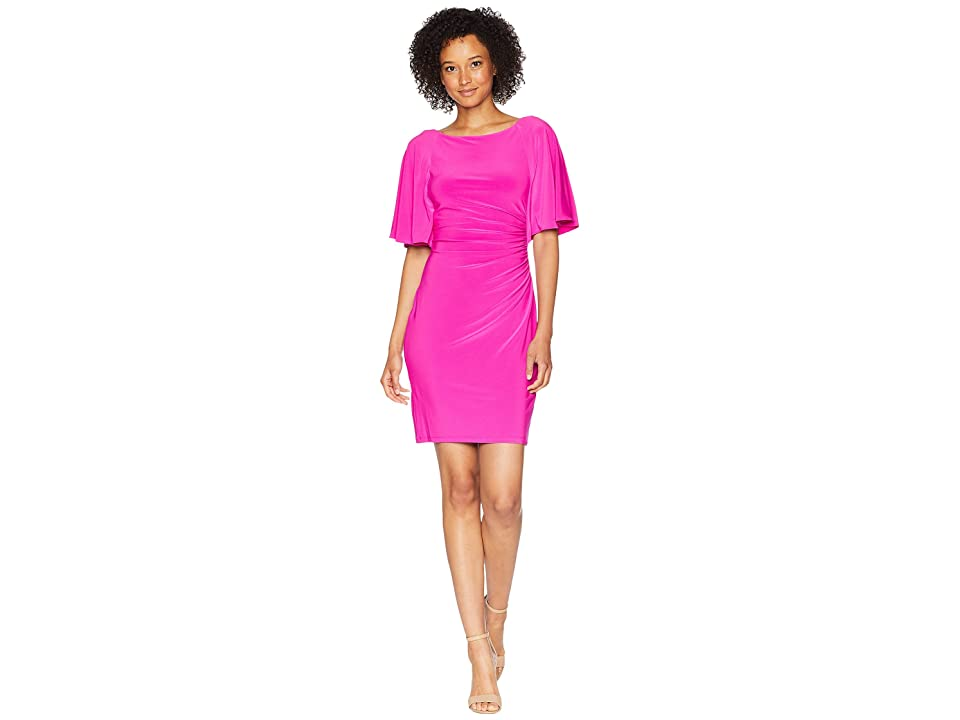 LAUREN Ralph Lauren 1T Matte Jersey Jessup 3/4 Sleeve Day Dress (Paradise Pink) Women