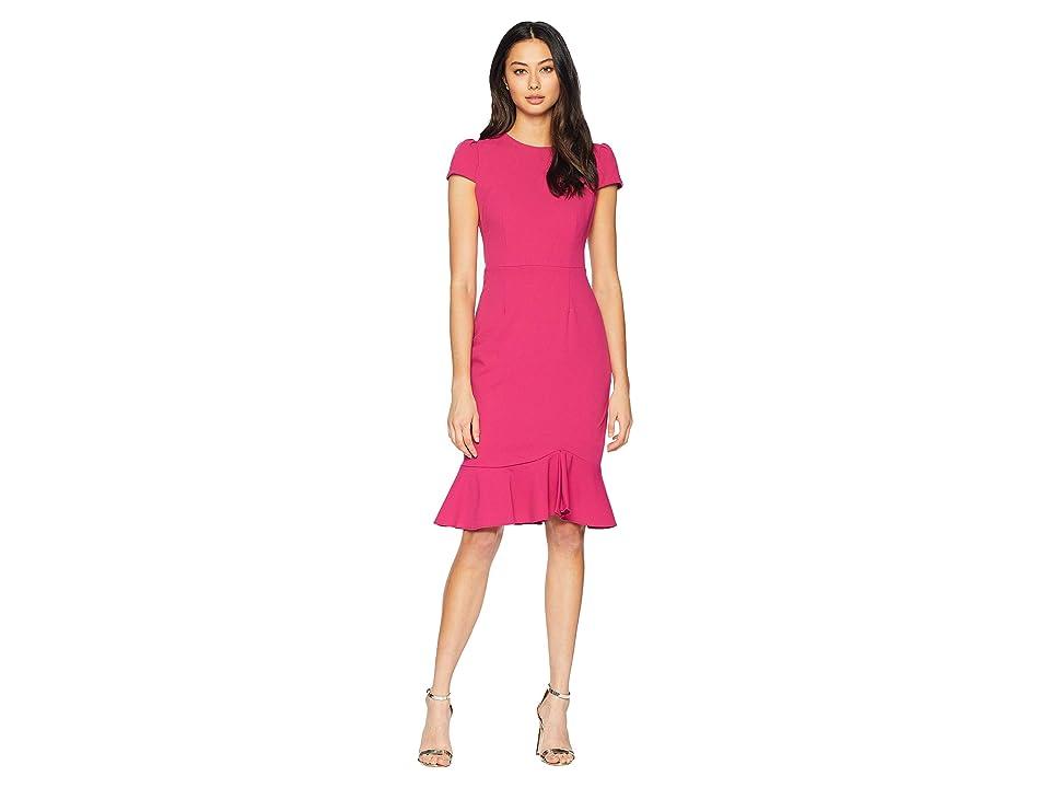 Betsey Johnson Scuba Crepe Dress w/ Flounce (Fuchsia) Women