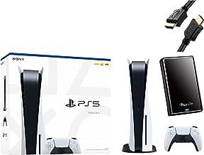 PS5: Sony Playstation 5 versión de disco de consola + 1 controlador inalámbrico – memoria GDDR6 de 16 GB, almacenamiento SSD de 825 GB – cable HDMI iPuzzle + disco duro externo de 480 GB