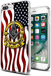 Cocomong Cool Masonic Freemason American Flag iPhone Cases for iPhone 7 Plus iPhone 8 Plus for Girls Women Mens TPU Back Cover