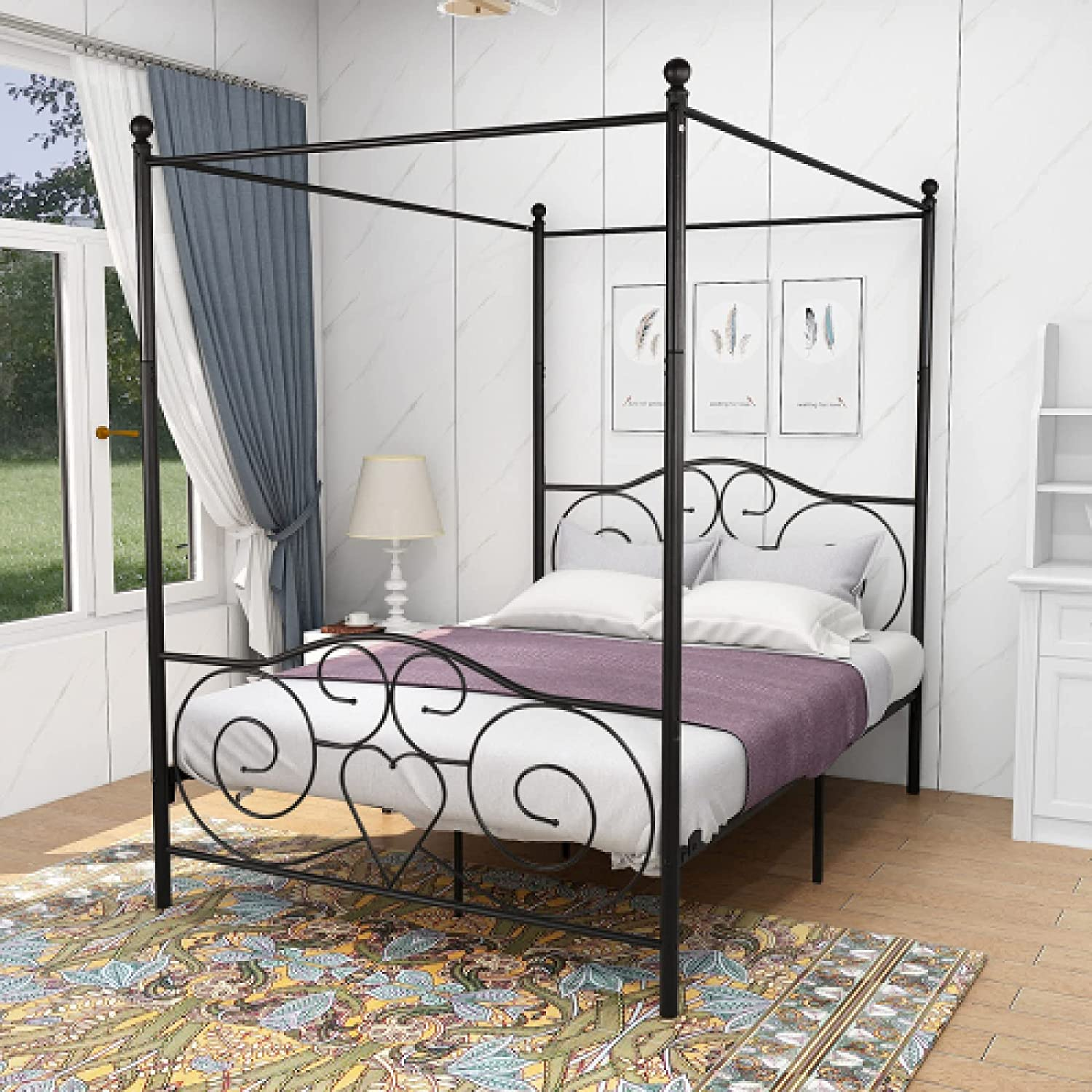 Metal Canopy Max 57% OFF Max 58% OFF Bed Frame with H Footboard Sturdy Headboard Steel