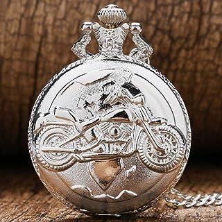 FGDSA Reloj de Bolsillo Steampunk Caja de Plata Motocicleta Reloj de Bolsillo Antiguo Collar de Cuarzo Retro Cadena para H...