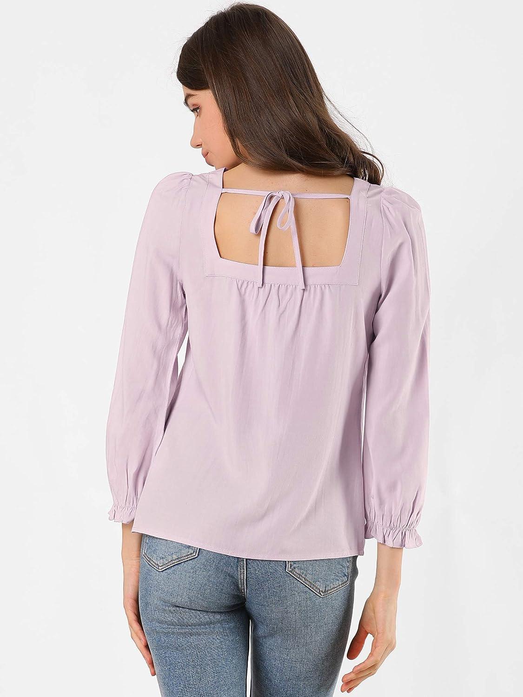 Allegra K Women's Square Neck Button Front Tie Back Puff Sleeve Vintage Blouse