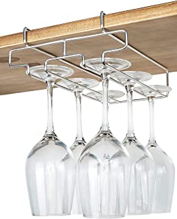 """bafvt Wine Glass Holder - 2 Rows Wine Glass Rack Under Cabinet - 304 Stainless Steel Stemware Drying Rack, Fit for The Cabinet 0.8"""" or Less"""