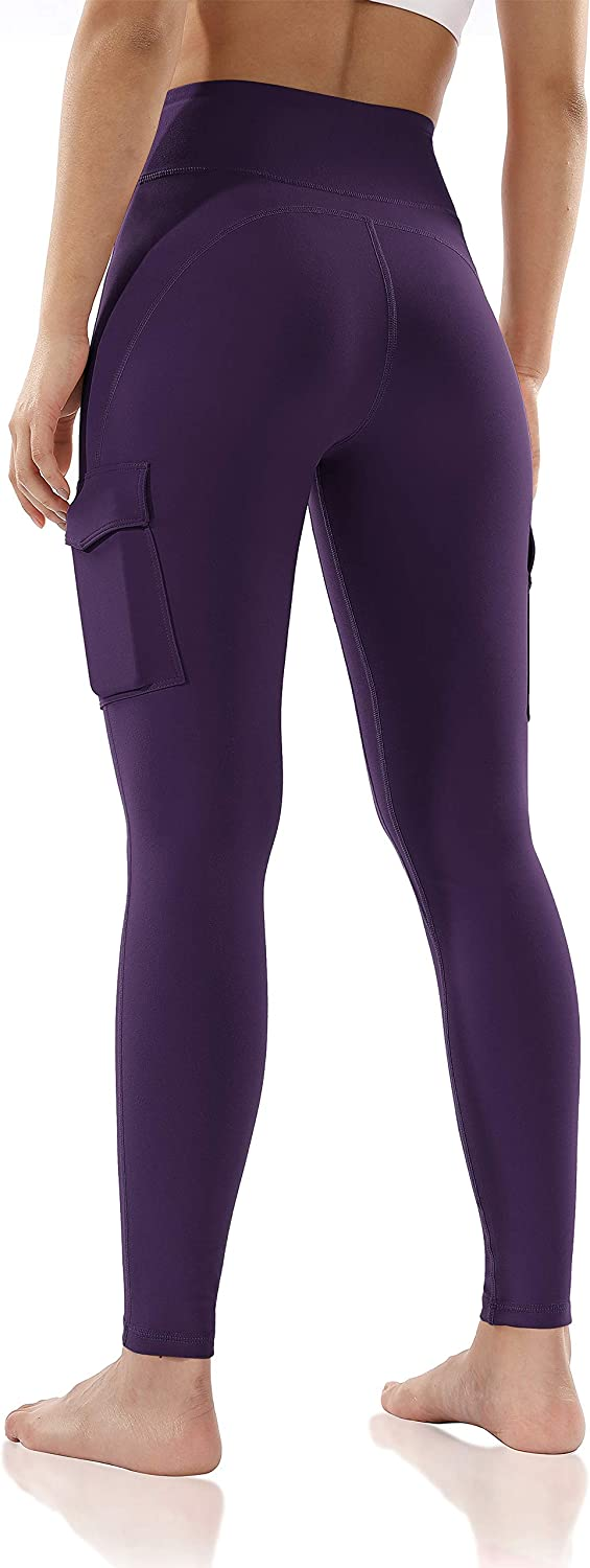 ODODOS Womens High-Rise Cargo Pockets Yoga Pants Full-Length Workout Yoga Cargo Leggings