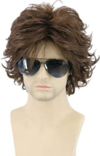 Topcosplay Mens Wigs Brown Short Cosplay Wig Wavy Fluffy Style Layered Halloween Costume Wigs Adult or Children (Brown)
