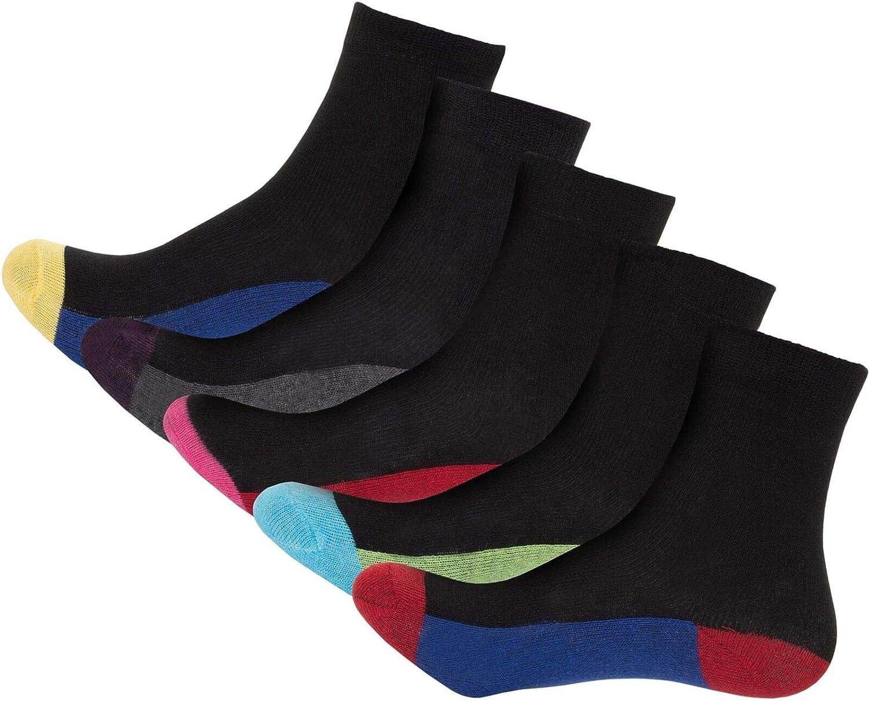 Loxdonz Boys Girls Heel & Toe Socks Children Kids Crew Ankle Socks Multicoloured Designer Sock (5 Pairs)