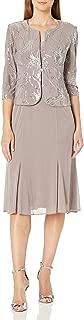 Women's Tea Length Mock Dress with Sequin Jacket (Petite and Regular Sizes)