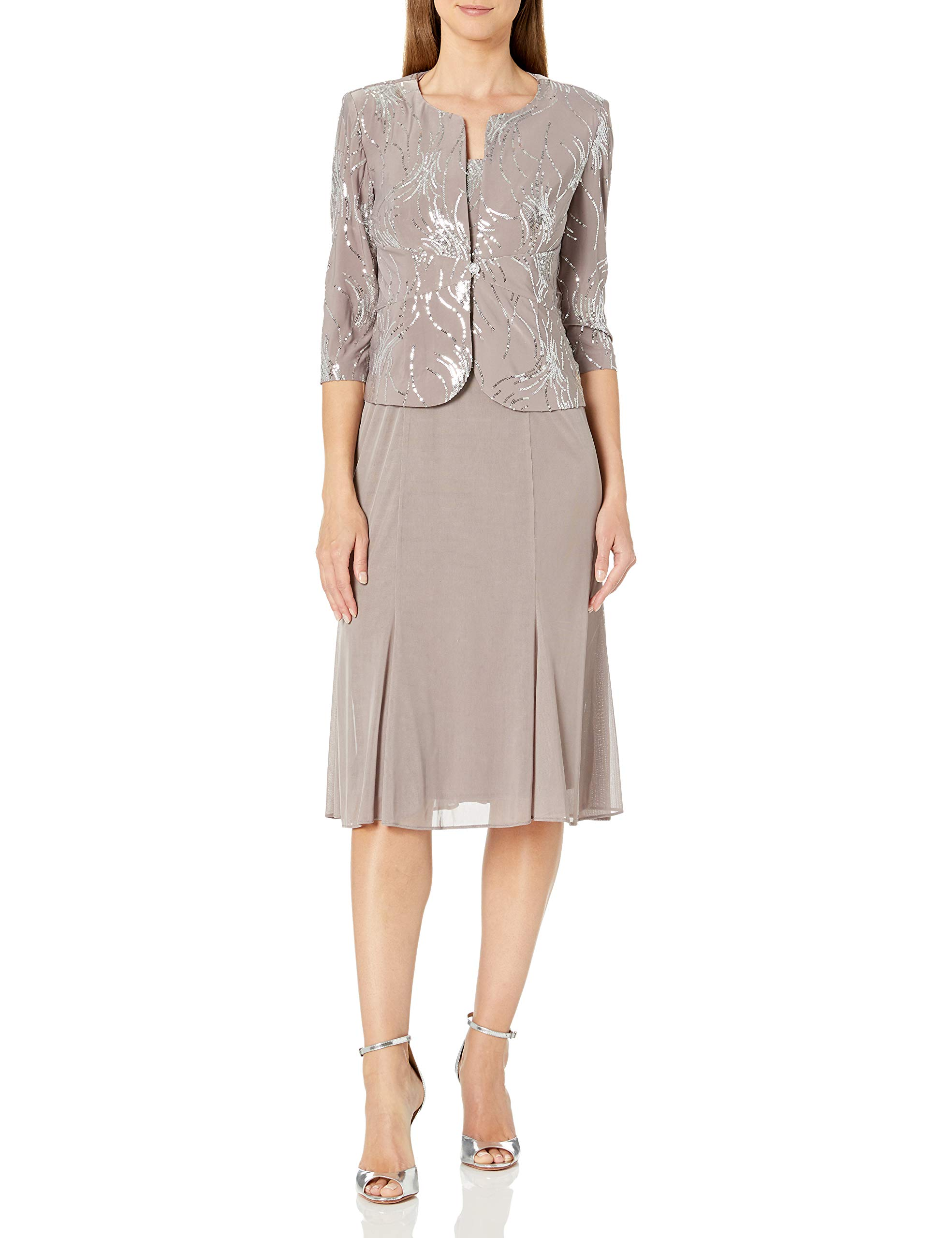 Mother Of The Bride Dresses - Women's Tea Length Mock Dress With Sequin Jacket (Petite And Regular Sizes)