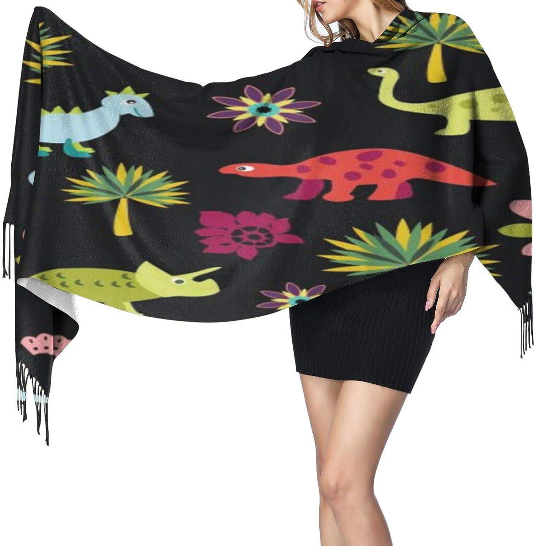 Cashmere fringed scarf Tree Cartoon Dinosaurs winter extra large scarf
