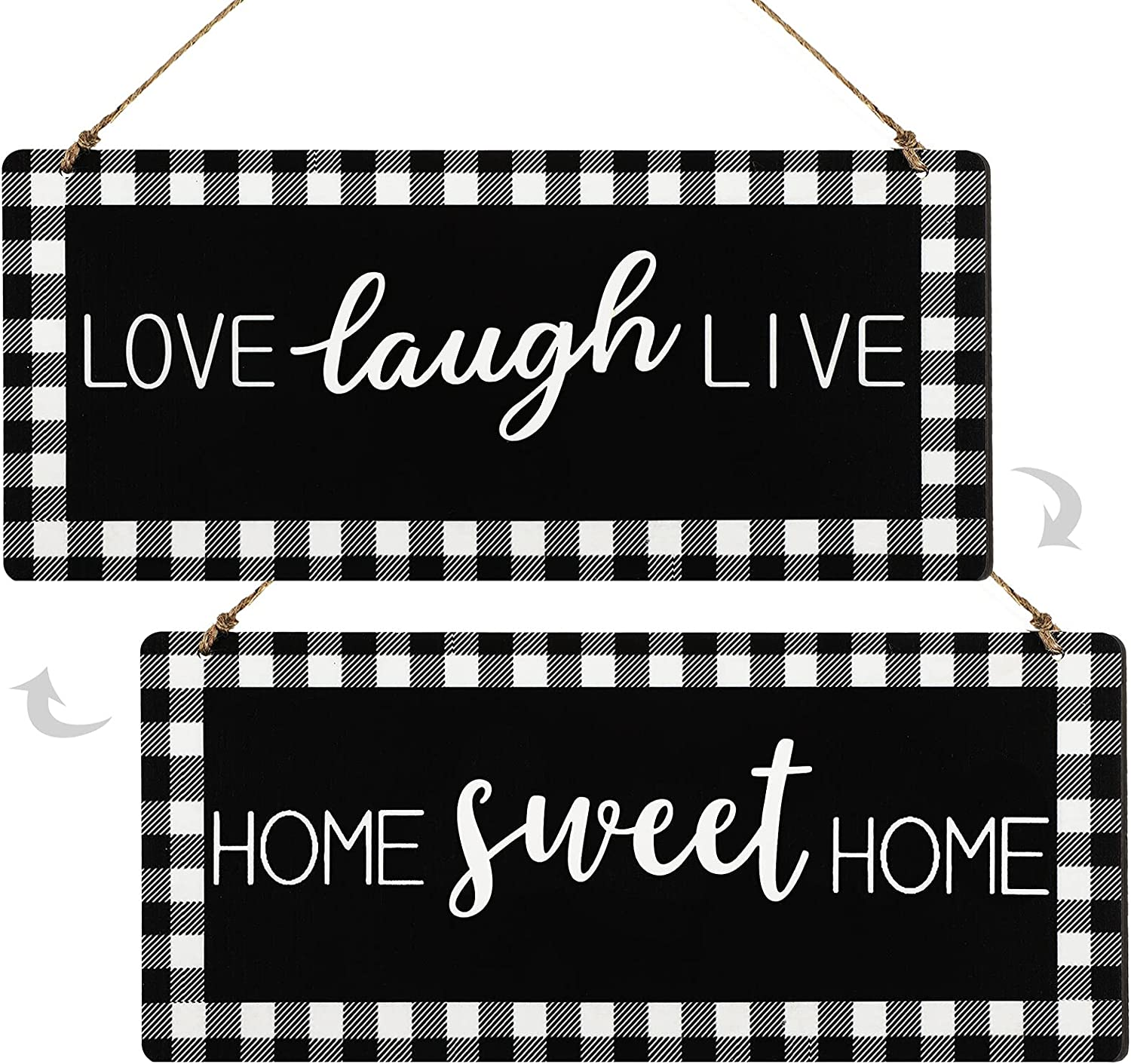 Wooden Home Sweet Home Sign Love Laugh Live Sign Rustic Buffalo Plaid Home Sign Black White Vintage Wall Decor for Home Kitchen Farmhouse