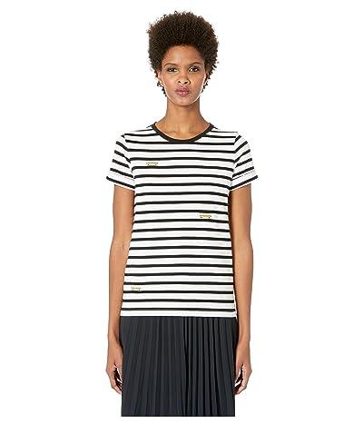 Kate Spade New York Broome Street Tiny Taxi Stripe Tee (Fresh White) Women