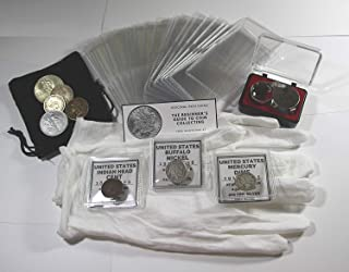 Coin Collection Set for Beginners, Coin Collecting Supplies Starter Kit - Includes a Silver Mercury Dime, Bronze Indian Head Cent, and Buffalo Nickel