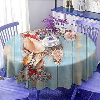 Nappe ronde avec motif de lettre F - Pour dîner - Image côtière - Couleur douce - Coquillages d'animaux liés à la mer - Ca...