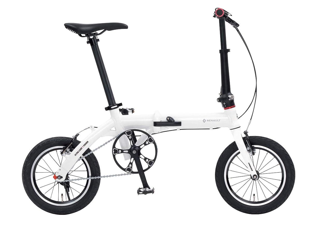山積みのダンスカルシウムルノー(RENAULT) 軽量?コンパクト 7.4kg 14インチ 折りたたみ自転車 ULTRA LIGHT 7F アルミフレーム 鍛造フォーク 47T×10T 11295