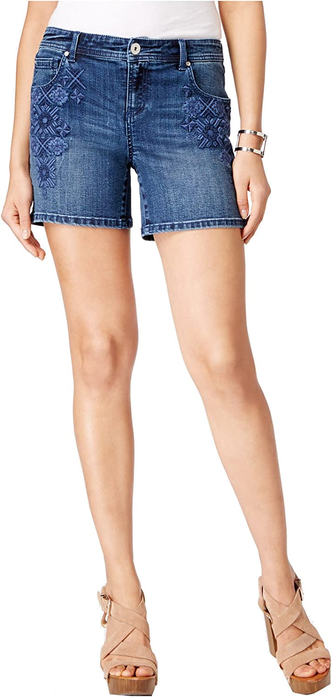 INC International Concepts Women's RegularFit FrontEmbroidered Denim Shorts