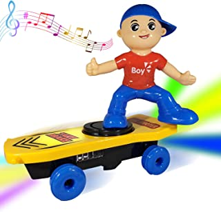 ANJ Kids New Holiday Toys – Battery Operated Toy for Kids; Cute Boy Riding Skating Board; Rolling, Rotating, Music and Beautiful Flashing Lights; Best Doll Toy for Boys and Girls