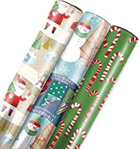 Hallmark Reversible Christmas Wrapping Paper Bundle, Candy Canes (Pack of 3, 120 sq. ft. ttl.)