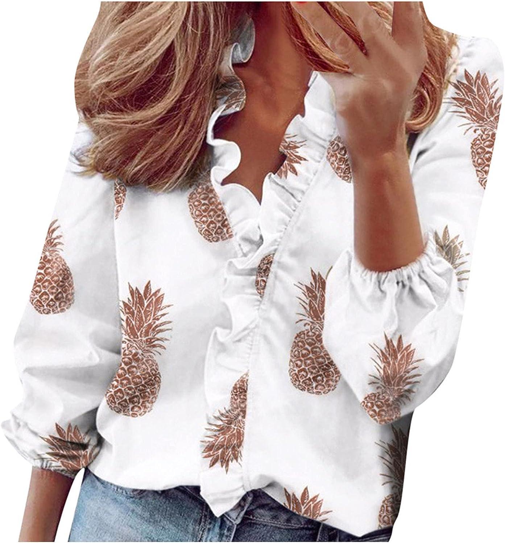 Fashion Womens Blouse Ruffles V-Neck Long Sleeve T-Shirt Tops Printing Soft Comfort Shirts Tunics for Work Office