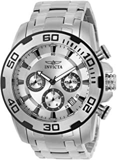 Invicta Men's 50mm Pro Diver Quartz Chronograph Watch with Stainless Steel Strap, Silver, 26 (Model: 22317-I, 22318)