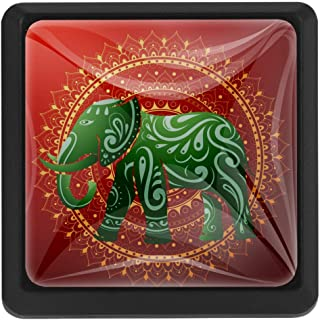 Pomos de cristal con forma de elefante indio con adorno étnico para cajones armarios cajones armarios armarios armari...