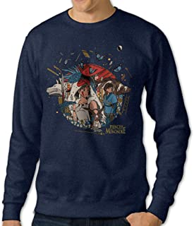 Men's Crew Neck Sweater Princess Cartoon Movie Mononoke Navy