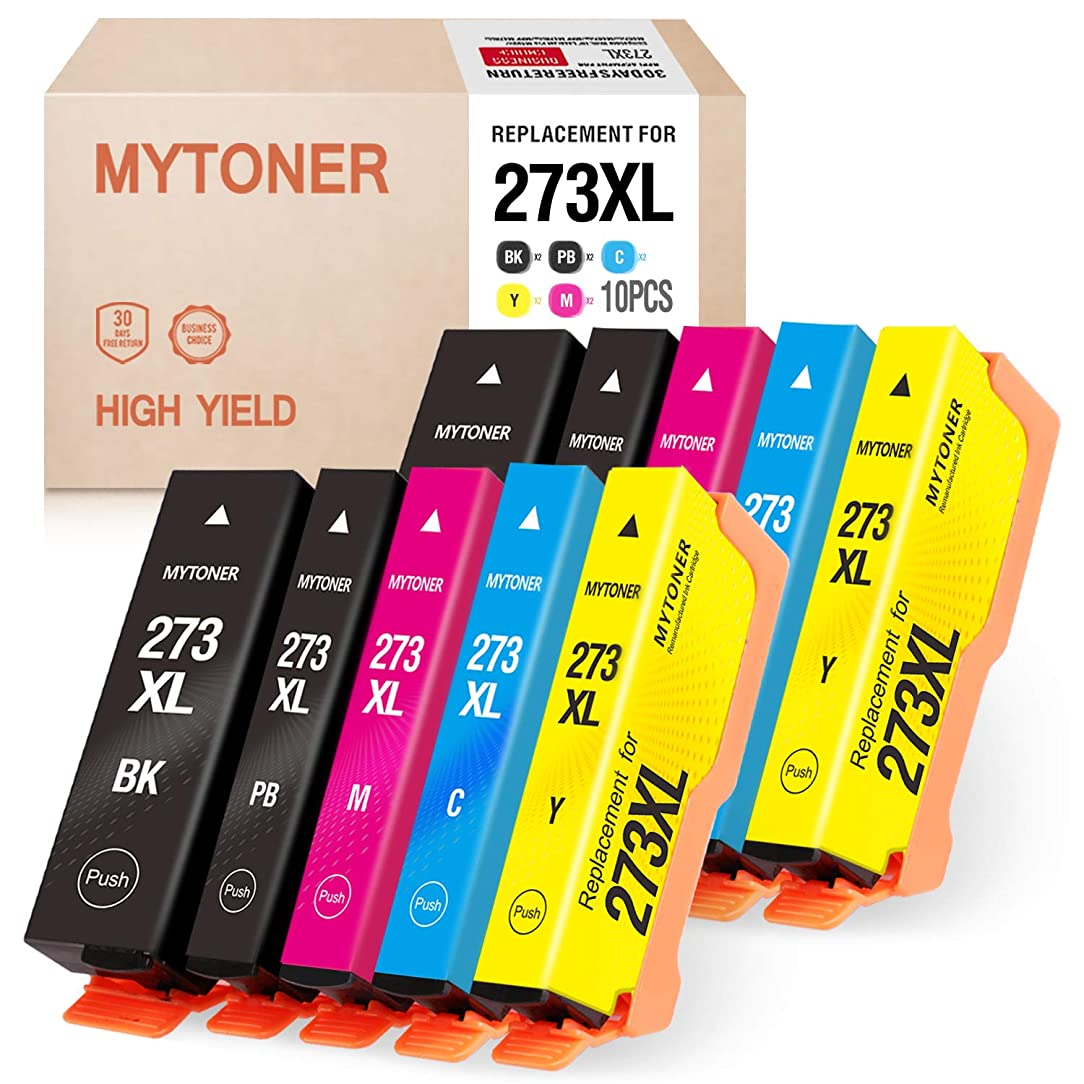 MYTONER Remanufactured Ink Cartridge Replacement for Epson 273XL 273 XL T273XL for XP-800 XP-810 XP-820 XP-600 XP-610 XP-620 XP-520 Printer(2Black, 2Photo Black, 2Cyan, 2Magenta, 2Yellow 10-Pack)