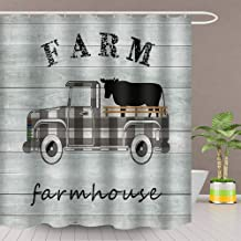AJDSM Farm Cow Shower Curtain The Truck Oulled a Cow Board Bathroom Decoration Set Polyester Fabric 72x72 Inch with Hook
