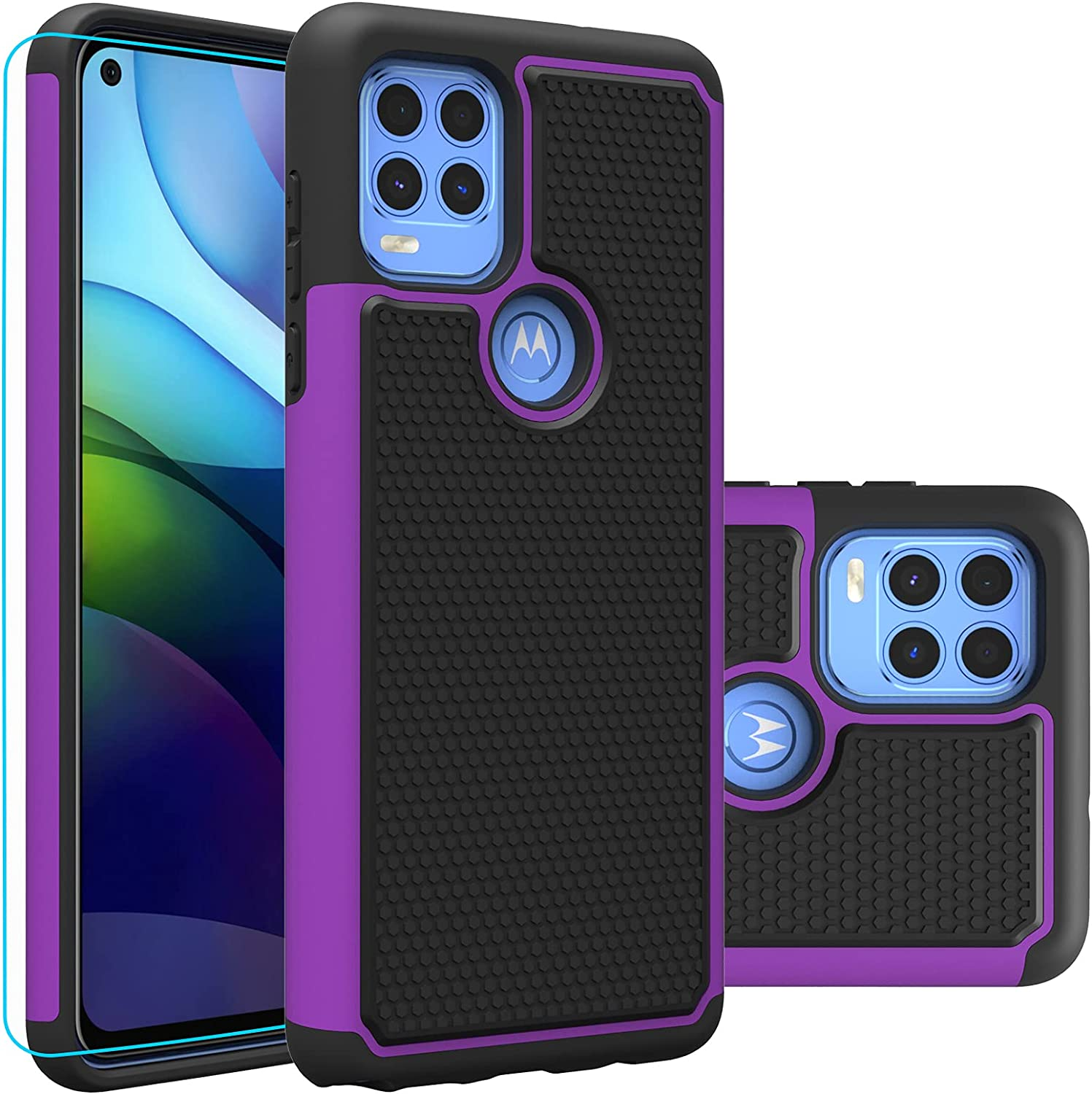 Moto G Stylus 5G Case, Motorola G Stylus 5G (2021) case with HD Screen Protector,Giner Dual Layer Military-Grade Defender Protective Phone Case Cover for Motorola Moto G Stylus 5G (2021)(Purple Armor)