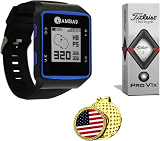 $89 » Amba9 GPS Golf Watch Bundle with 1 Sleeve of Titleist Pro V1x Balls, 1Ball Marker and 1 Hat Clip - Rangefinder with Preloa...