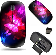 Unique Pattern Optical Mice Mobile Wireless Mouse 2.4G Portable for Notebook, PC, Laptop, Computer - Neon Butterfly