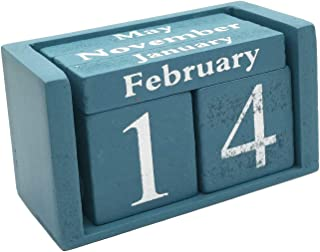 Small Wooden Desk Blocks Calendar - Perpetual Block Month Date Display Home Office Decoration(Blue), 3.7 x 2.1 x 1.7 inches
